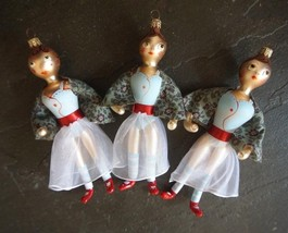 Set of 3 Hand Painted Blown Glass Dressed Ladies Christmas Ornaments 7 i... - $24.99