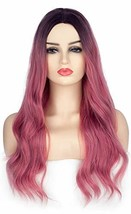 Long Wavy Ombre Pink Synthetic Hair Wigs For Women Dark Roots Realistic ... - $22.23