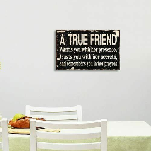 Primary image for Adeco Decorative Wood Wall Sign Plaque A True Friend Home Decor Art with Inspira