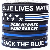 Variety Pack 5 Thin Blue Line Wristbands - USA Flag, Blue Lives Matter, and more - $6.81