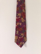 Editions by Van Heusen Floral Neck Tie Flower Daisy Tulip Purple Red Gold - $3.36