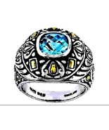 Blue Topaz Ring checkerboard facet solitaire 10.49 gr Silver  3.6 carats... - $81.83