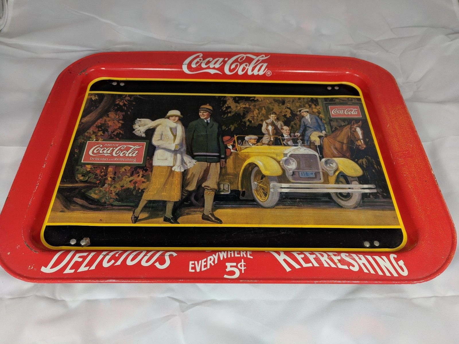 Vintage 1987 COCA COLA TRAY TV Bed Lap Tray TOURING CAR Ohio Folding Legs COKE