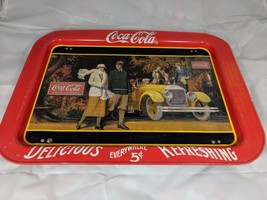 Vintage 1987 COCA COLA TRAY TV Bed Lap Tray TOURING CAR Ohio Folding Leg... - $24.95