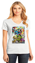 Marvel Universe District Made Ladies Perfect Weight V-Neck T-Shirt Size XS - 4XL - $19.99+