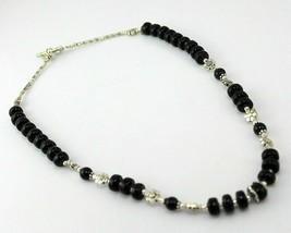 Black Onyx Beaded Handmade Necklace Jewelry 40 Gr. F-551-3 - $4.45