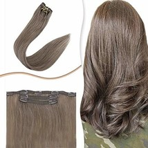 """RUNATURE Clip In Hair Extensions Human Hair 14"""" Light Brown Natural Straight Rem - $43.97"""