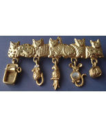 CATS Charm BROOCH Pin - AJC - Sardines Mouse Bird Rhinestone Yarn - 2 3/... - £14.45 GBP