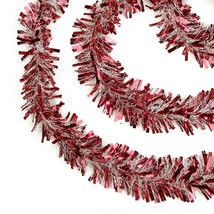 50' Red and Snowblush Wide Cut Christmas Tinsel Garland - Unlit - $16.57