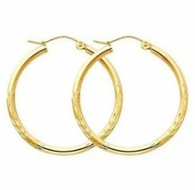 "1"" 2mm X 30mm Diamond Cut Hoop Earrings REAL 10K Yellow Gold  - $84.15"
