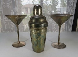 Mid century cocktail shaker and metal glasses Pop Art Bar Décor Art Deco - $120.00