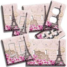 VINTAGE EIFFEL TOWER MAGNOLIA FLOWERS PARIS POST CARD LIGHT SWITCH OUTLE... - $8.99+