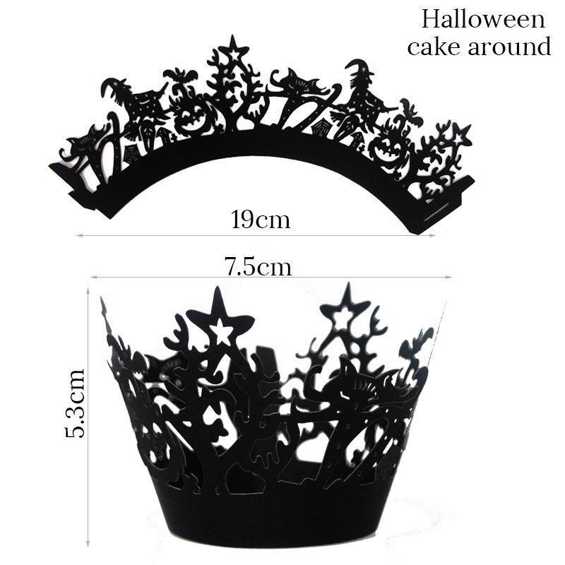 12Pcs Halloween Decoration Cupcake Wrappers Case Cake Toppers Party Supplies