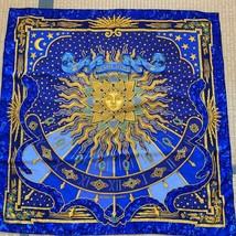 "Hermes Scarf Carpe Diem 90 cm Silk Blue Carre 35"" M145 - $236.61"