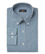 NEW CLUB ROOM REGULAR FIT LONG SLEEVE PLAID BUTTON FRONT DRESS SHIRT 14.... - £10.75 GBP