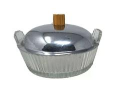 Heisey Ridgeleigh Glass Lemon Dish Chrome Lid With Bakelite Knob - $26.17