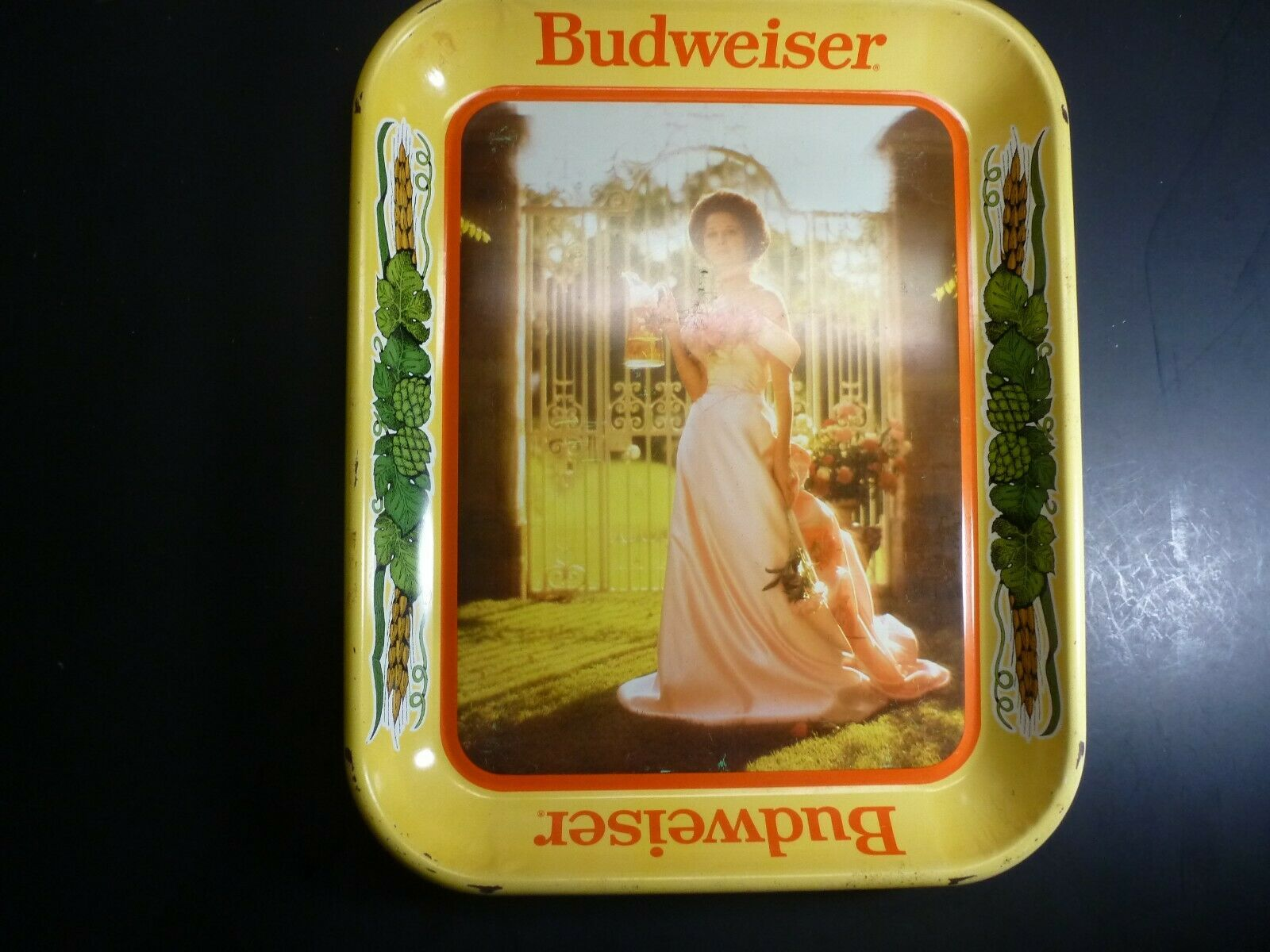 Primary image for Vintage Budweiser Tin Tray with Woman in a Pink Dress