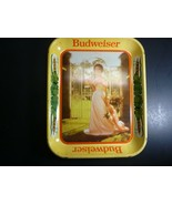 Vintage Budweiser Tin Tray with Woman in a Pink Dress - $19.69