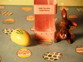 Deluxe Milk Chocolate Easter Egg/Bunny in Display Box w/ Bow for Dollhou... - $8.99