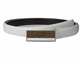 Calvin Klein White Belt Leather Wooden Buckle Size Large $38 - NWT - $19.75