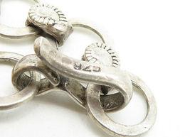 925 Sterling Silver - Vintage Paisley Detail Circle Link Chain Bracelet - B6325 image 4
