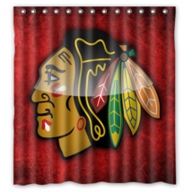 Chicago Black Hawks 04 Shower Curtain Waterproof Polyester Fabric For Bathroom  - $33.30+