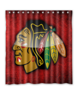 Chicago Black Hawks 04 Shower Curtain Waterproof Polyester Fabric For Ba... - $33.30+