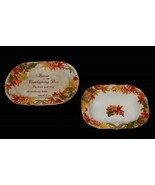 2-Pc AUTUMN CELEBRATION Fall Thanksgiving Oval Platter & Svg Bowl NEW 22... - $74.99