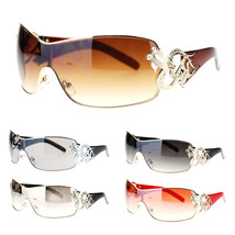 Womens Coy Metal Jewel Designer Fashion Shield Warp Sunglasses - $10.84+