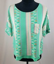 Meadow Rue Anthropologie women XS Zane mint green layered tee - $17.81