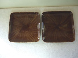 "Oneida Set Of 2 Horizon Swirl Stoneware Square Serving Plates "" BEAUTIFUL SET - $56.09"