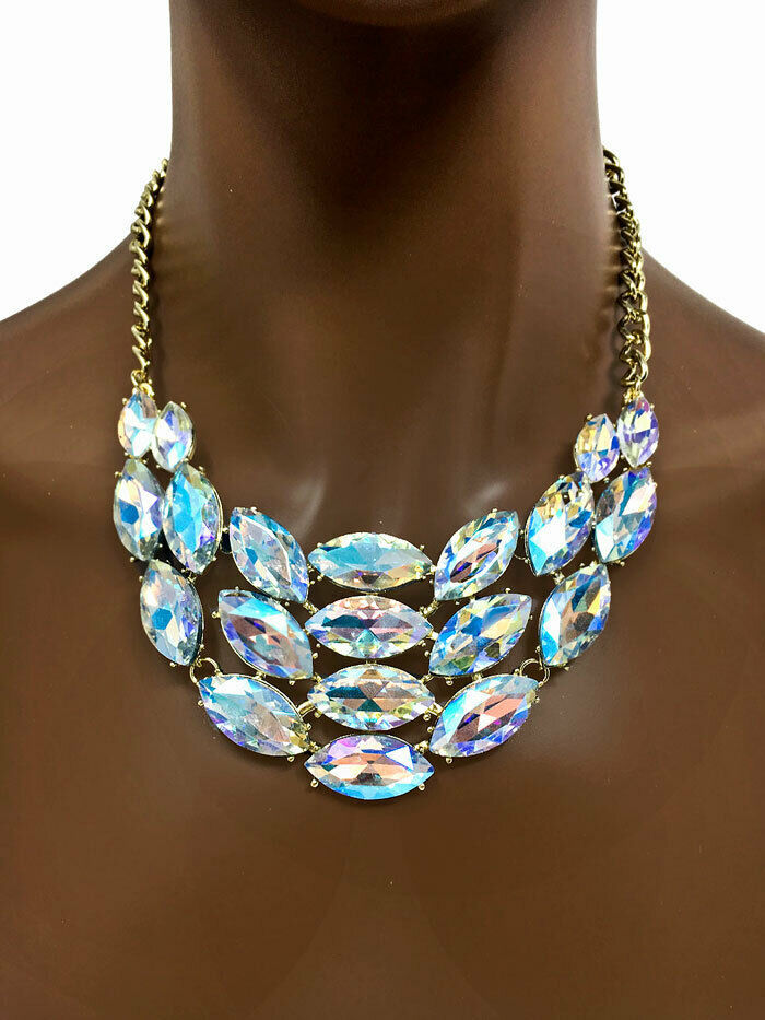 Primary image for Bib Statement Necklace Earrings Aurora Borealis Crystals Drag Pageant, Bridal