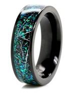 Opal Wedding Ring Meteorite Wedding Band - $89.99
