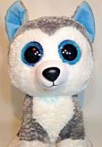 Ty Slush Husky Puppy Dog Beanie Boos Buddies Large Plush 18 Sparkle Eyes - $49.00