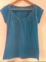 Banana Republic Blue Embroidered Neckline Top Size Xs - $14.95