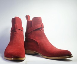 Handmade Men's Red Suede High Ankle Monk Strap Jodhpurs Boots image 3