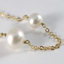 Yellow Gold Bracelet 750 18k, White Pearls 7-9 mm Rolo Chain, 18.5 cm image 2