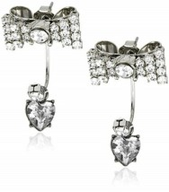"Betsey Johnson ""Iconic"" Crystal Bow Heart Drop Earrings - $59.97"