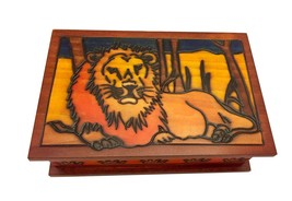 Polish Handmade Wood LION BOX Secret Opening Puzzle Box Trick Keepsake - $44.54