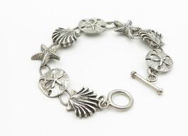 925 Sterling Silver - Vintage Sea Shell Starfish Charmed Chain Bracelet - B6149 image 2