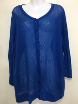 Talbots Woman 2X Royal Blue Lacey Pima Cotton Cardigan Sweater 3/4 Sleeves - $41.65