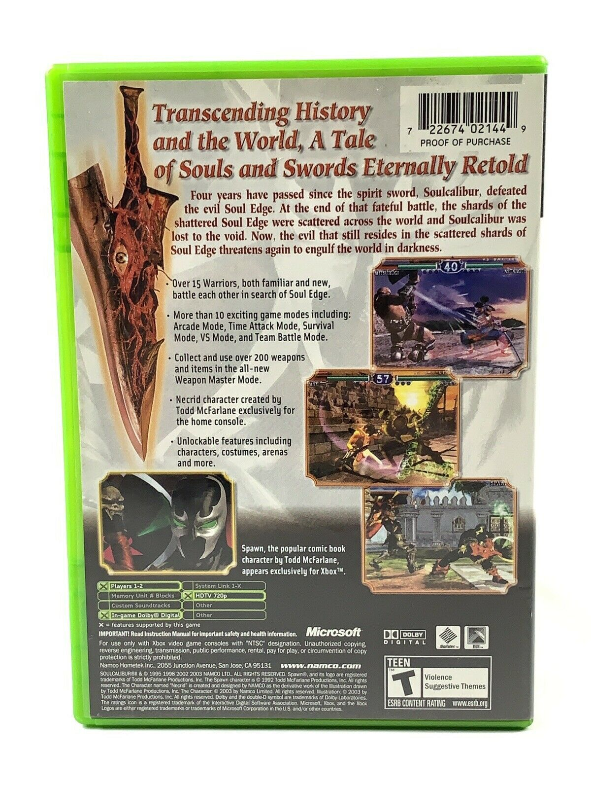 Soul Calibur II Microsoft Xbox, 2003 CIB Complete Tested Black Label image 2