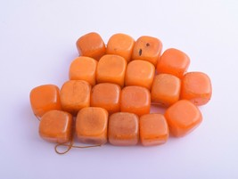 Vintage cube African Trade Beads-Simulated Amber Strand - $98.01