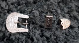 """Rope Edge Silver Buckle 5/8"""" Three Piece Set Moran Atesanias marked Silver image 1"""