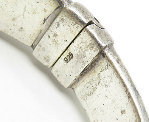 925 Silver - Vintage Embossed Grape Vine Detail Hinged Bangle Bracelet - B4938
