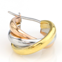 Trendy Twisted Tri-Color Silver, Gold & Rose Tone Hoop Earrings-United Elegance image 3