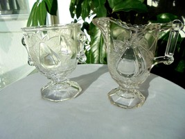 Antique Adams & Co. Baltimore Pear Gipsy Creamer & Open Sugar Bowl  c 18... - $49.50