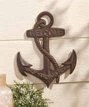 "13.8""  Cast Iron Anchor Design Wall Decor with Welcome Sentiment"