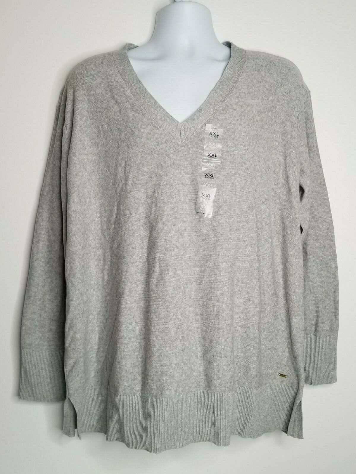 Primary image for Tommy Hilfiger Women's Grey V Neck Sweater Pullover XXL Long Sleeve NWT 982264
