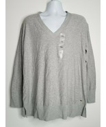Tommy Hilfiger Women's Grey V Neck Sweater Pullover XXL Long Sleeve NWT ... - $24.99